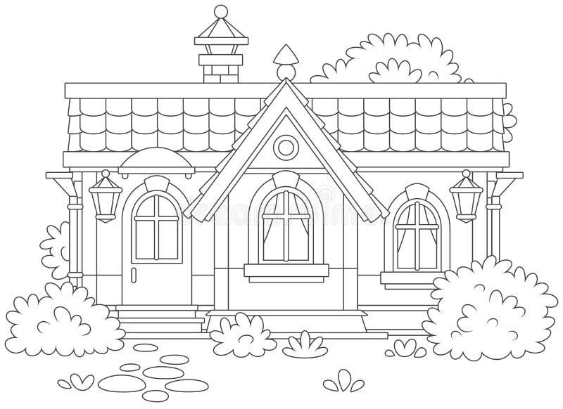 Klein comfortabel dorpshuis vector illustratie