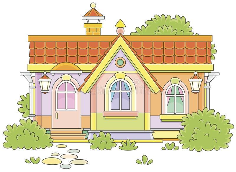 Klein comfortabel dorpshuis stock illustratie