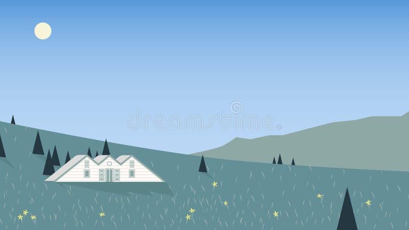 Klein die plattelandshuisje op berg met toneellentetijd wordt gevestigd vector illustratie