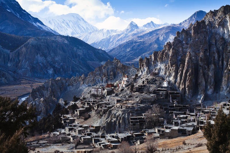 Klein dorp op Annapurna-kring royalty-vrije stock foto