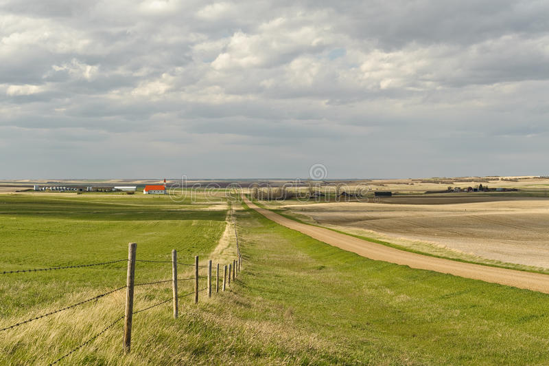 Klein dorp van Canadese Prairies stock afbeelding