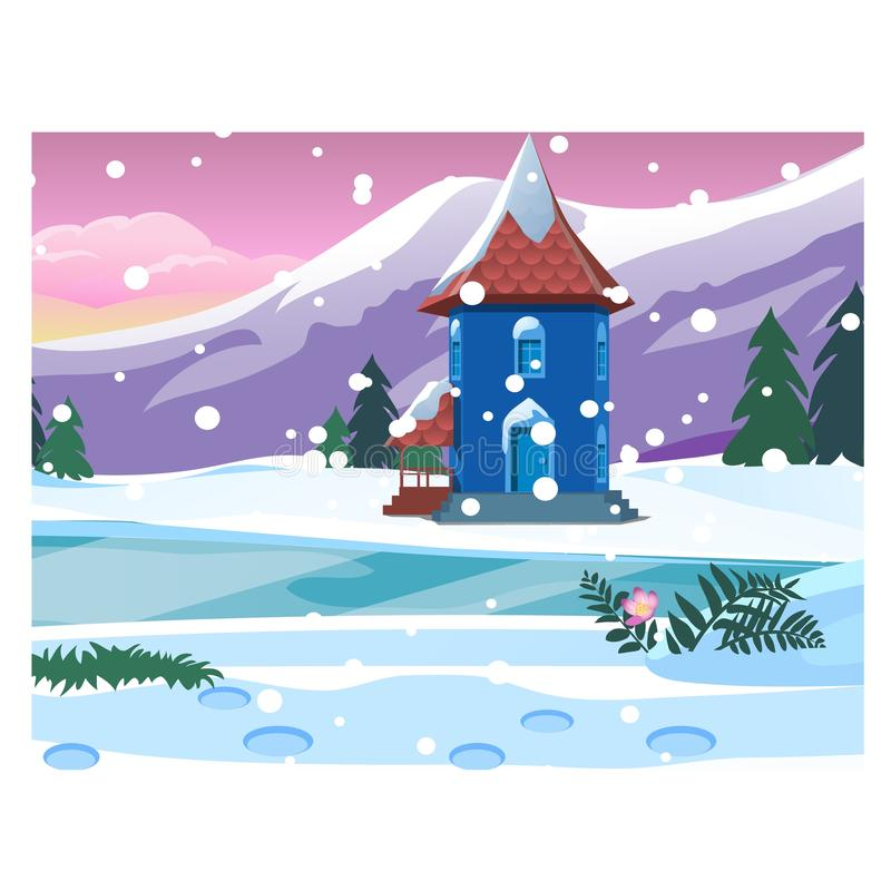 Klein eenzaam huis met sneeuwbergen Schets voor Kerstmis en de Nieuwe kaart van de jaargroet, feestelijke affiche of partij royalty-vrije illustratie