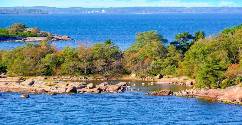 Klein eiland in Aland-archipel stock afbeeldingen