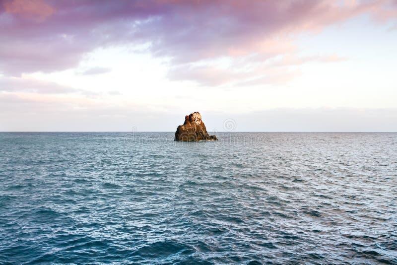 Klein eiland of eilandje, een kleine die rotsklip door het blauwe water van de Atlantische Oceaan in Funchal, Madera, Portugal wo stock afbeeldingen