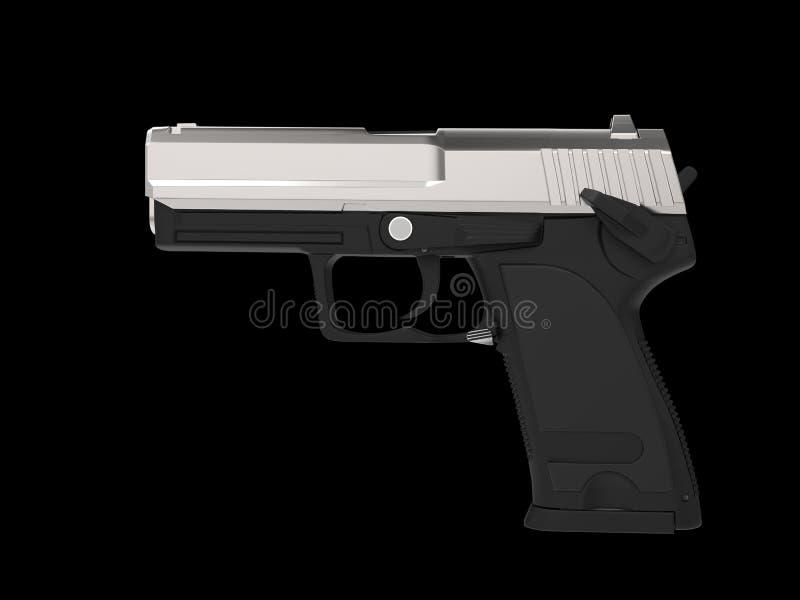 Klein en compact modern pistool - chroom hoogste deel stock illustratie