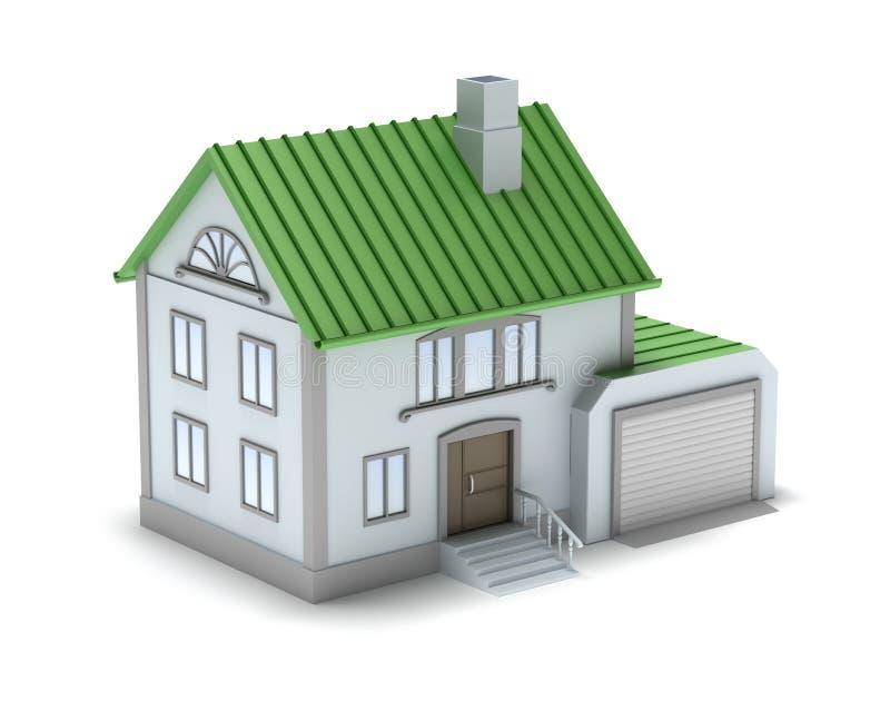 Klein familiehuis. 3D beeld. Geïsoleerde op wit. vector illustratie