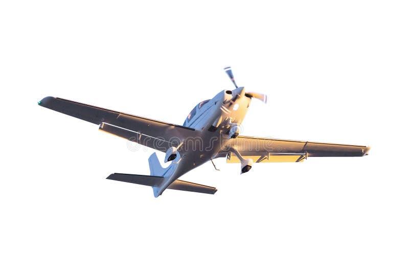 Klein geïsoleerd toeristenvliegtuig stock foto