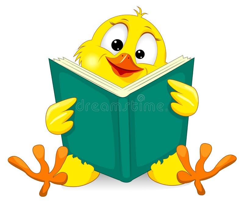 Klein kuiken met een boek vector illustratie