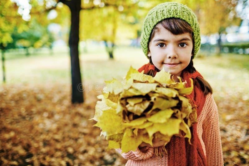 Klein Meisje met het Boeket van Esdoornbladeren royalty-vrije stock afbeelding