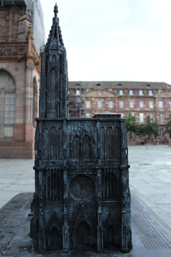 Klein model van de Kathedraal van Straatsburg royalty-vrije stock foto's
