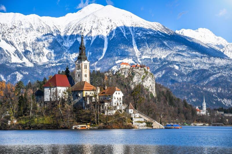 Klein natuurlijk eiland in het midden van alpien meer met kerk gewijd aan veronderstelling van Mary en kasteel met sneeuwbergen stock foto