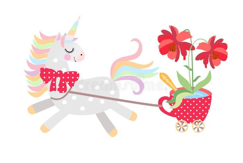 Klein paard - de eenhoorn rustte aan kar in de vorm van rode kop op bevers met grote mooie bloem daarin, ritten uit vector illustratie