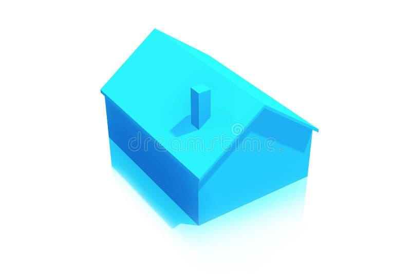Klein Plastic Blauw Huis 3D Pictogram op Witte Achtergrond royalty-vrije illustratie