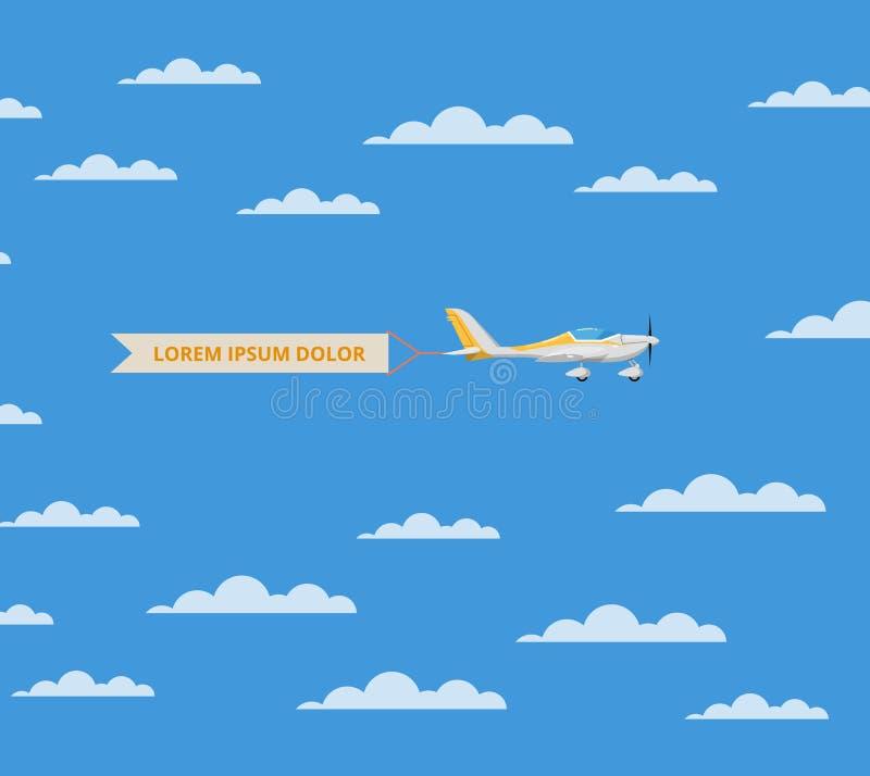 Klein propellervliegtuig met banner in hemel vector illustratie
