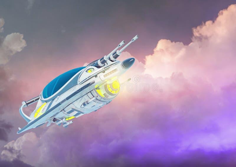 Klein ruimteschip die op een betrokken achtergrond drijven stock illustratie