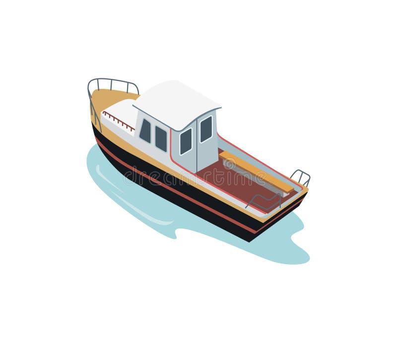 Klein schip in oceaan vector illustratie
