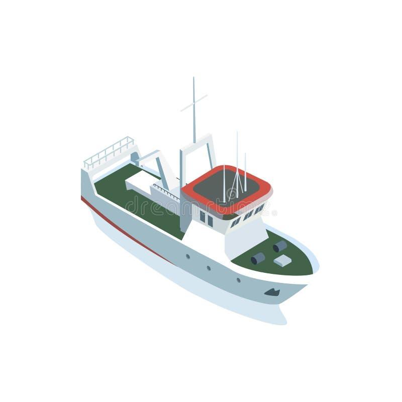 Klein schip op wit royalty-vrije illustratie