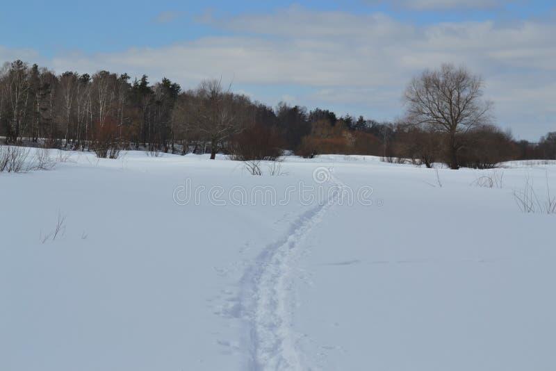 Klein skispoor door de rivier stock afbeelding