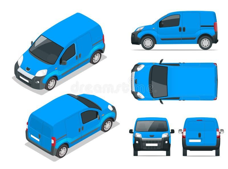 Klein Van Car auto, malplaatje voor en auto die brandmerken adverteren Voor, achter, zij, hoogste en isometry voor en vector illustratie