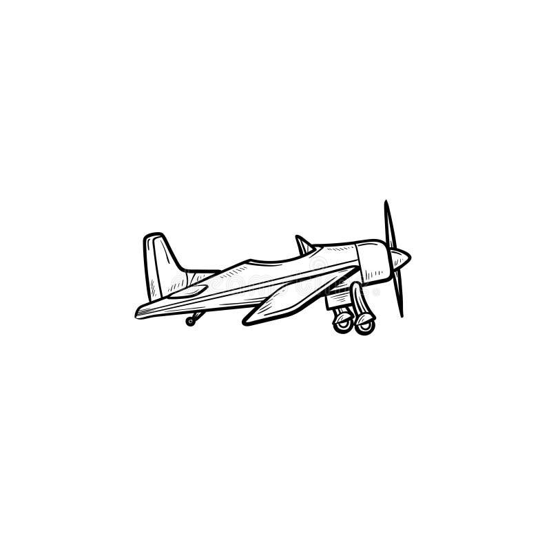 Klein vliegtuig met de krabbelpictogram van het propellerhand getrokken overzicht royalty-vrije illustratie