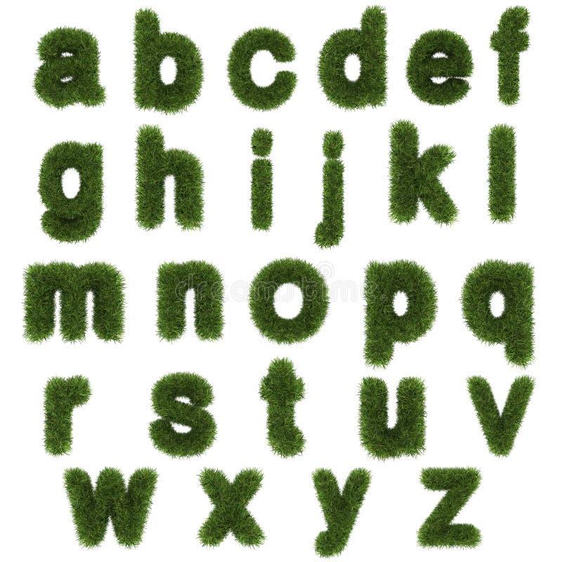 Kleinbuchstaben des Alphabetes des grünen Grases lokalisiert auf Weiß lizenzfreie abbildung