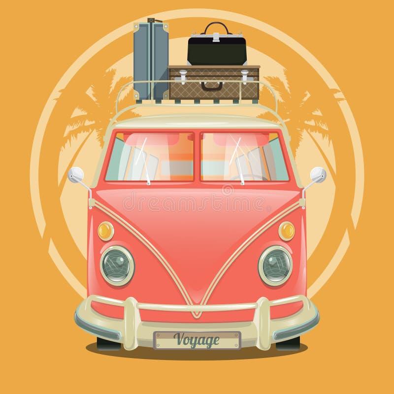 Kleinbus mit Koffern und Palmevektor lizenzfreie abbildung