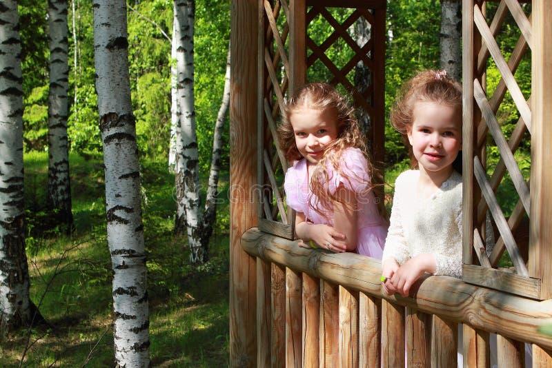 Kleine aanbiddelijke meisjes in gazebo in het platteland stock fotografie