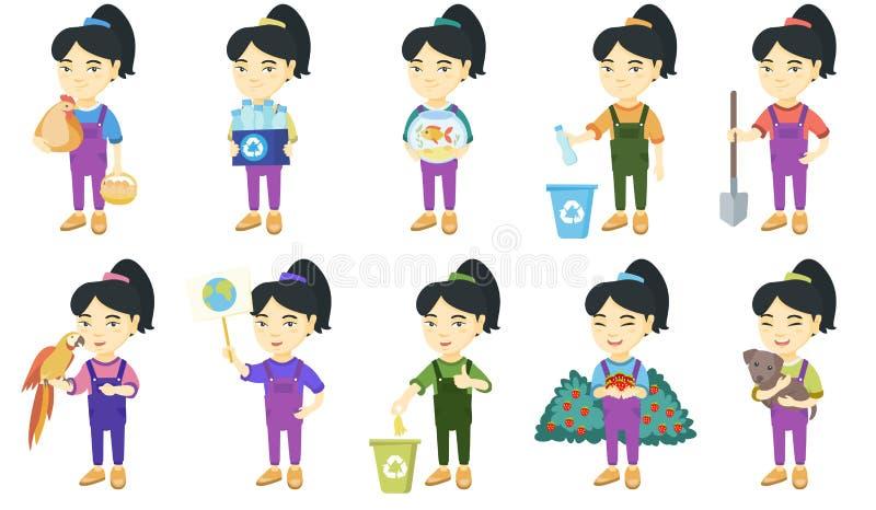 Kleine asiatische Mädchenvektorillustrationen eingestellt vektor abbildung