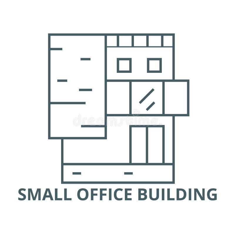 Kleine Bürogebäudevektorlinie Ikone, lineares Konzept, Entwurfszeichen, Symbol stock abbildung