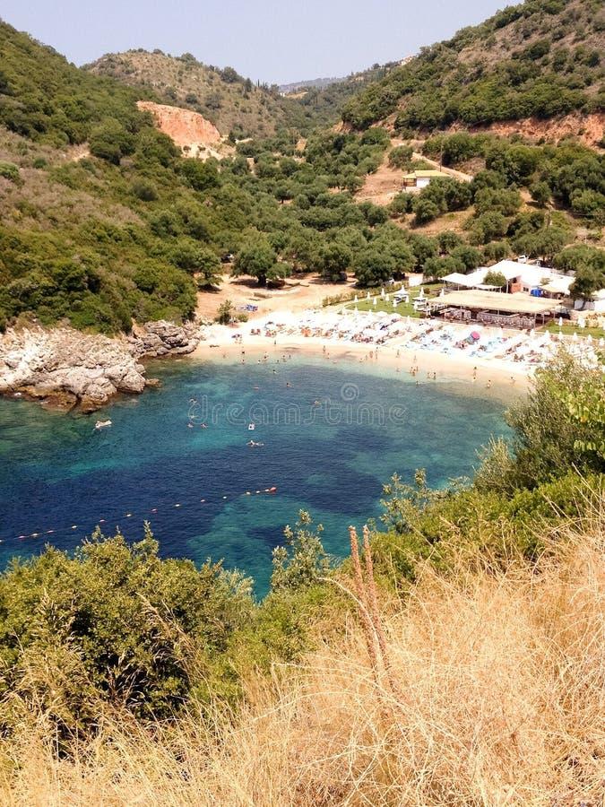 Kleine baai in Sivota, Epirus stock foto