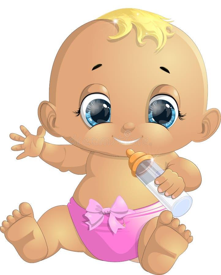 Kleine baby met een fles stock illustratie