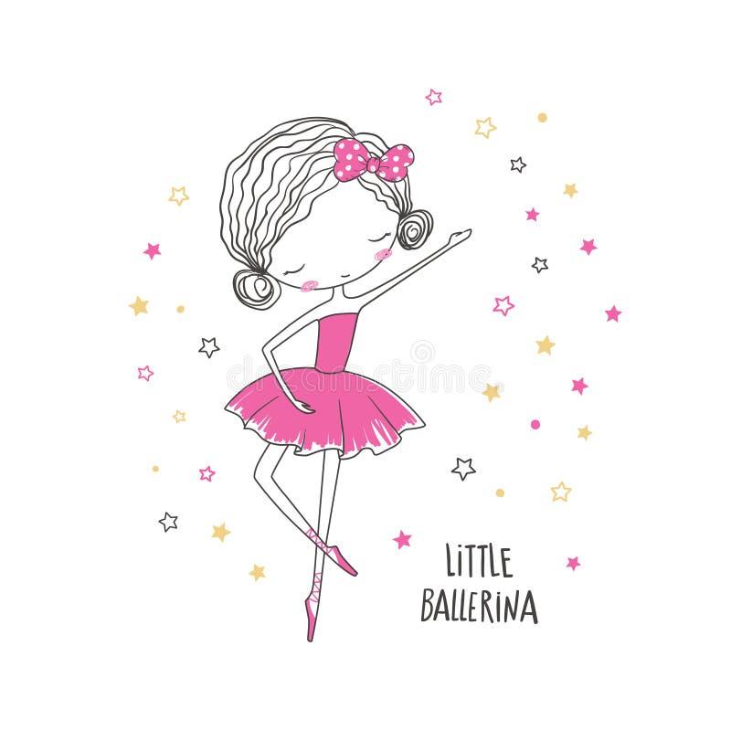 Kleine Ballerina Modeillustration für Kleidung stock abbildung