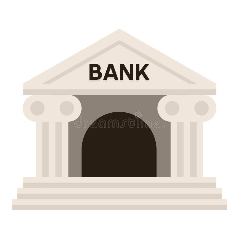 Kleine Bankgebäude-flache Ikone auf Weiß lizenzfreie abbildung