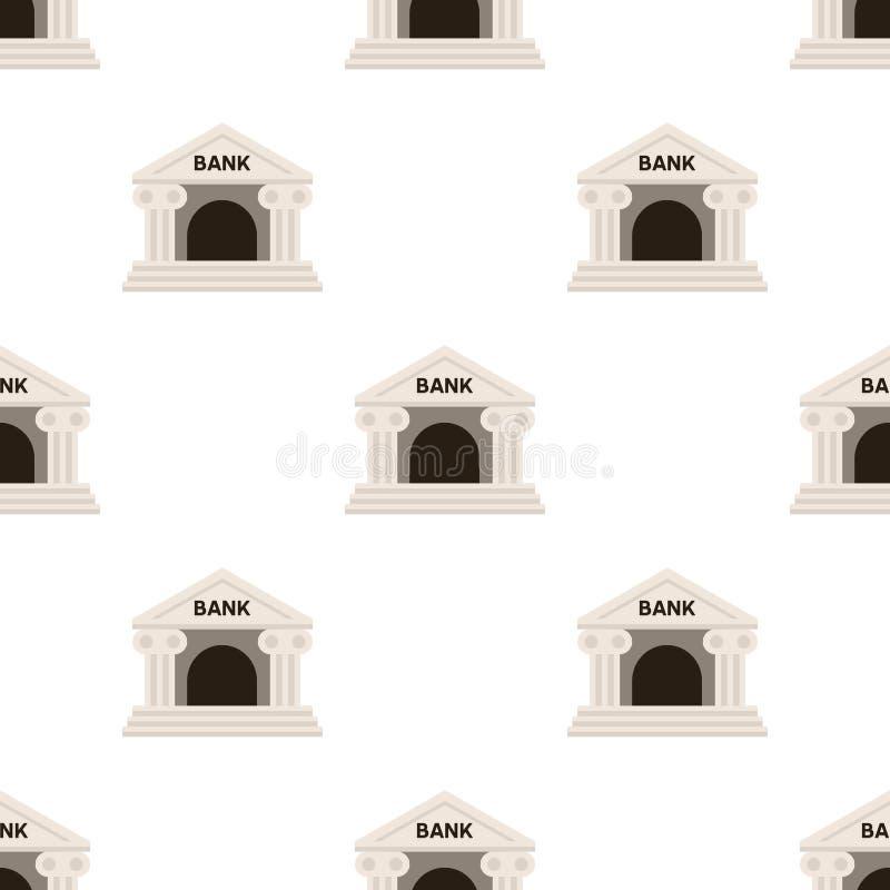 Kleine Bankgebäude-Ikonen-nahtloses Muster lizenzfreie abbildung