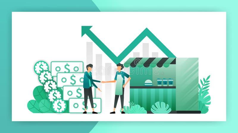 Kleine bedrijfsleningen kant van de wegwinkel dat leningen van bank zonder zakelijk onderpand krijgt borrow schuld om zaken te on royalty-vrije illustratie