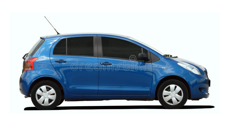 Kleine blauwe auto stock afbeelding
