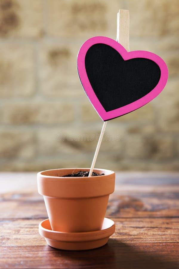 Kleine bloempot met een roze hart en exemplaarruimte stock fotografie