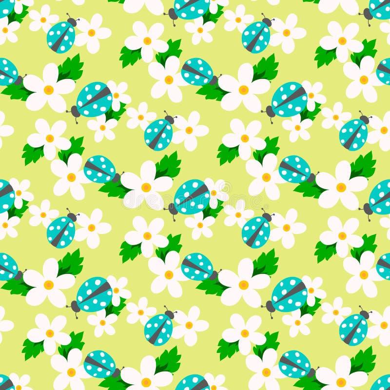 Kleine bloemvector met lieveheersbeestje naadloos patroon vector illustratie