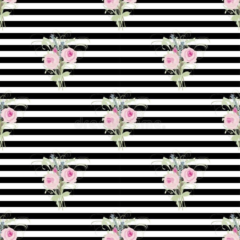 Kleine boeketten van rozen en lavendel op een achtergrond van strepen en lijnen in zwart-wit stock illustratie