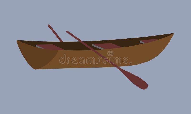 Kleine boot De visserij van houten boot met roeispanen stock afbeeldingen