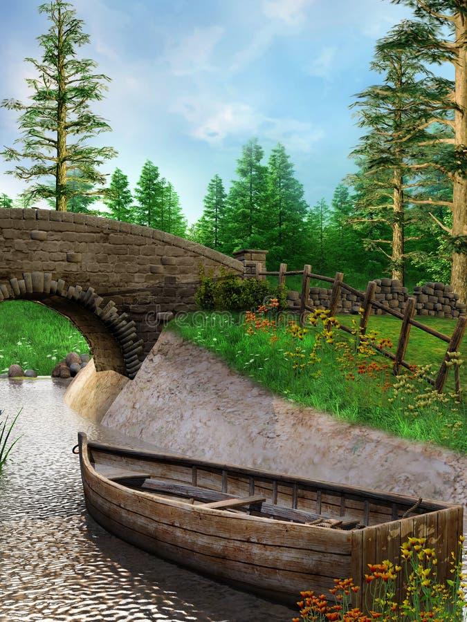 Kleine boot op een rivier royalty-vrije illustratie