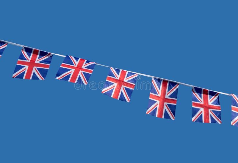 Kleine britische Union- Jackfeiermarkierungsfahnen. stockfotografie