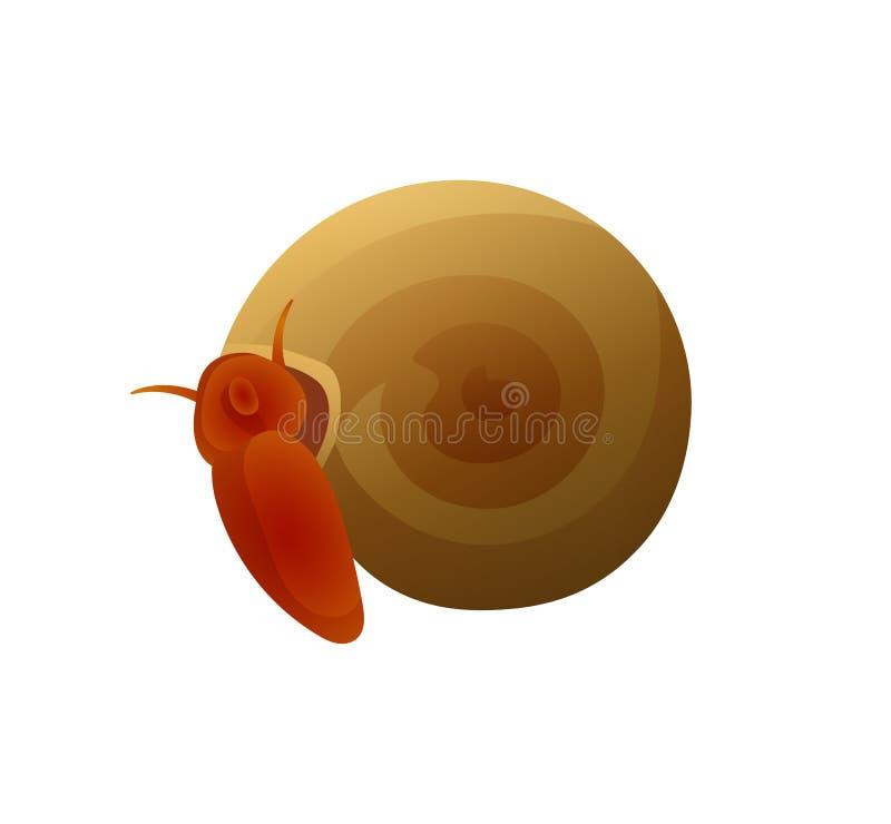 Kleine Brown-Schnecke mit runder Shell Colorful Poster lizenzfreie abbildung