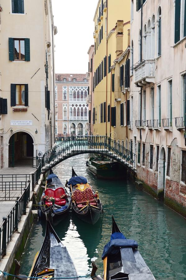 Kleine brug en gondels stock afbeelding
