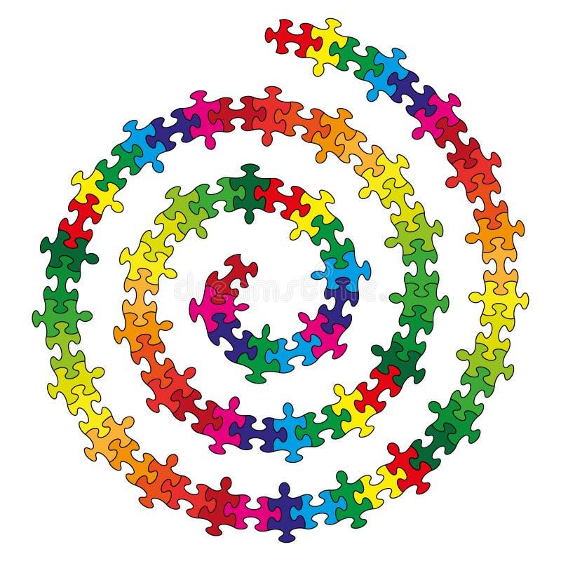 Kleine bunte Stücke geformte Puzzlespiele der Spirale vektor abbildung