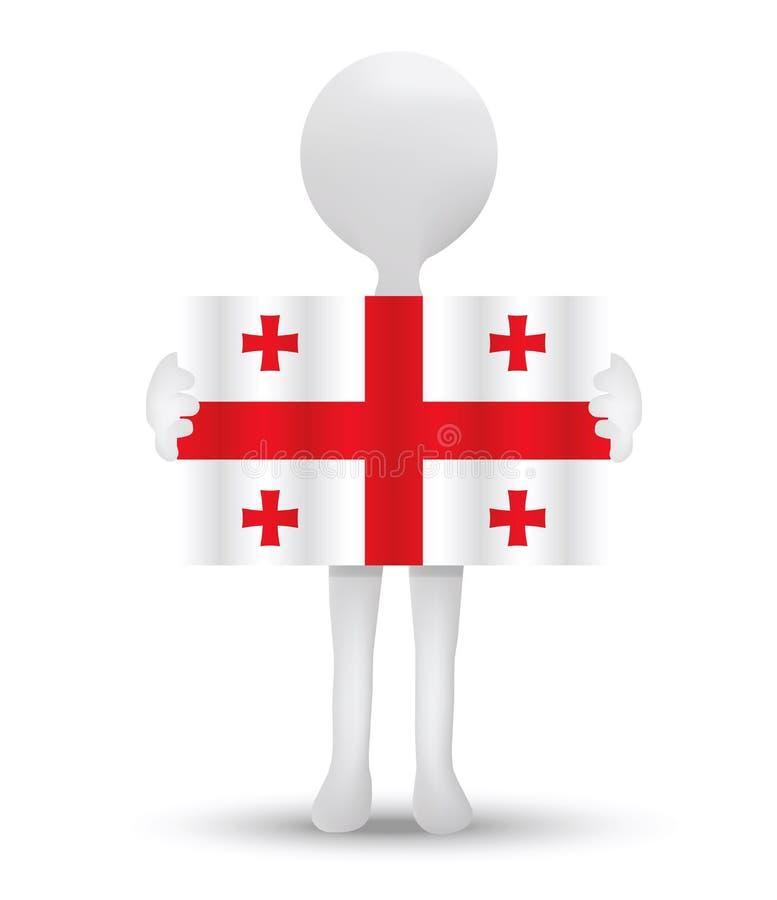 kleine 3d mens die een vlag van Georgië houden stock illustratie