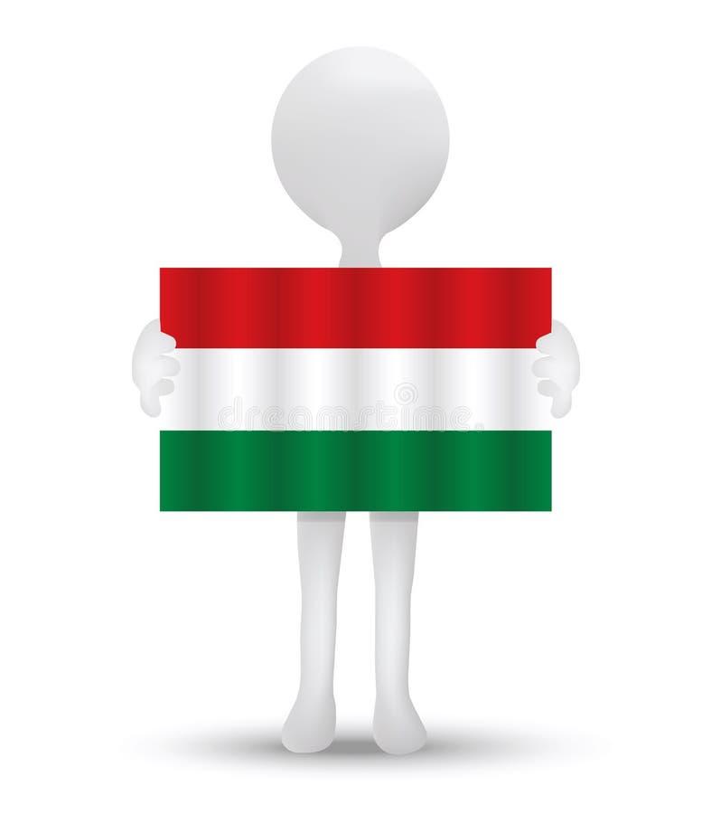 kleine 3d mens die een vlag van Hongarije houden stock illustratie