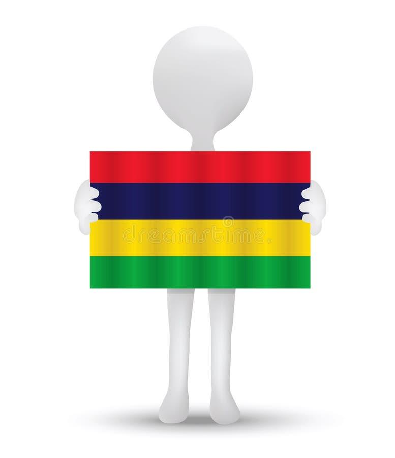 kleine 3d mens die een vlag van Republiek Mauritius houden vector illustratie
