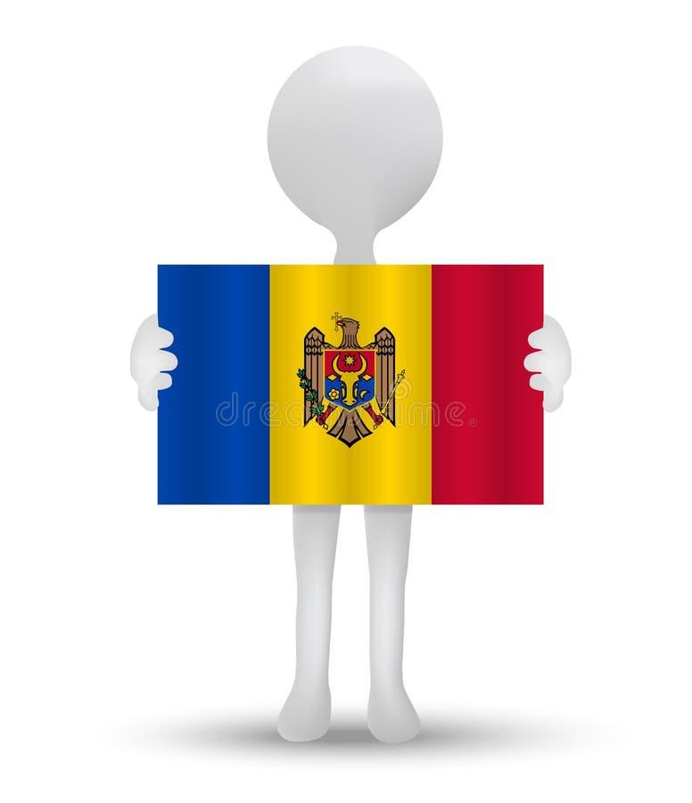 kleine 3d mens die een vlag van Republiek Moldavië houden royalty-vrije illustratie