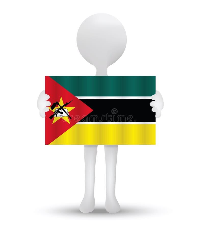 kleine 3d mens die een vlag van Republiek Mozambique houden vector illustratie